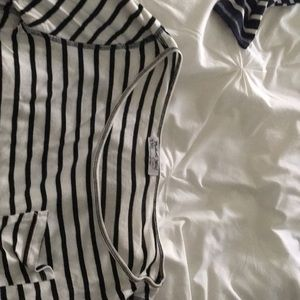 Michael Stars Tops - Michael Stars cropped boatneck striped shirt